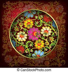 floral, ornamento, abstratos, grunge, fundo