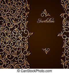 floral, ornamento, renda, ouro, convite