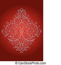 floral, ornamento, retro, (vector)