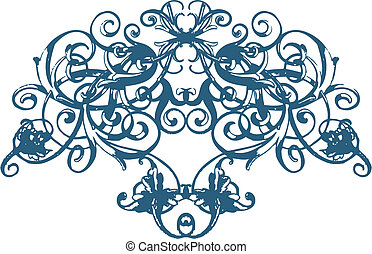floral, ornamento, scroll