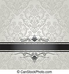 floral, papel parede, luxo, prata