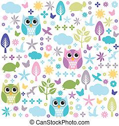 floral, papel parede, seamless, padrão