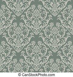 floral, papel parede, verde