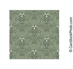 floral, papel parede, verde, seamless