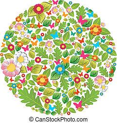 floral, primavera, círculo, verão