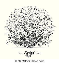 floral, primavera, elementos