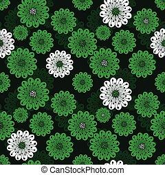 floral, primavera, verde, seamless, padrão