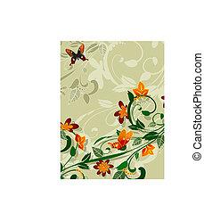 floral, projeto abstrato, borboletas