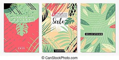 floral, promoção, natureza, jogo, cartazes, bandeiras, venda