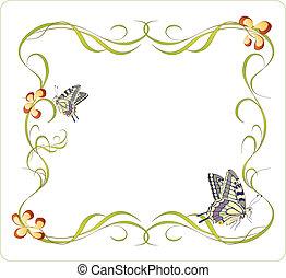 floral, quadro, borboletas