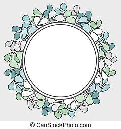floral, quadro, vetorial, grinalda