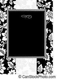 floral, quadro, vetorial, pretas