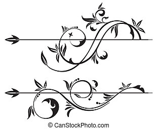 floral, scroll, elemento