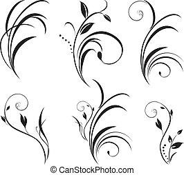 floral, sprigs., decoração, elementos