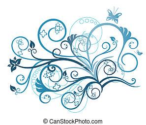 floral, turquesa, projete elemento