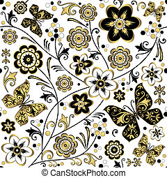 floral, (vector), padrão, branca, seamless