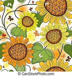 floral, verão, repetindo, branca, padrão