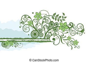 floral, verde, borda, elemento