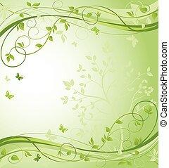 floral, verde, borda