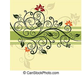 floral, verde, vetorial, desenho, ilustração