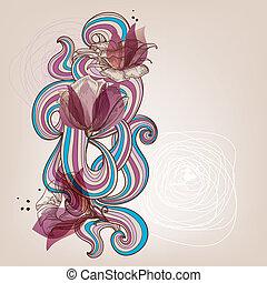 floral, vetorial, cartão, ilustração