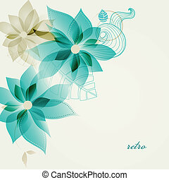floral, vetorial, retro, fundo