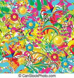 floral, vibrante, verão, padrão