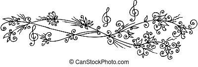 floral, vignette, musical, cccii