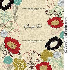 floral, vindima, convite