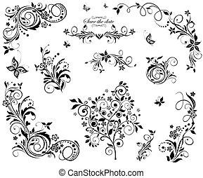 floral, vindima, desenho, pretas, branca