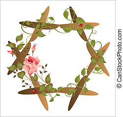 floral, vindima, quadro