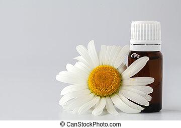 flores, óleo, chamomile, beleza, treatment., vidro, conceito, garrafa, fresco, spa, essencial