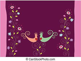 flores, ame pássaros