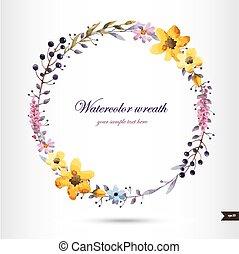 flores, aquarela, grinalda