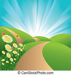 flores azuis, céu, borboletas, campos, paisagem, verde, primavera