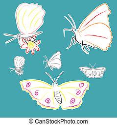 flores, borboletas