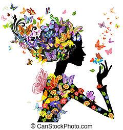 flores, borboletas, moda, menina
