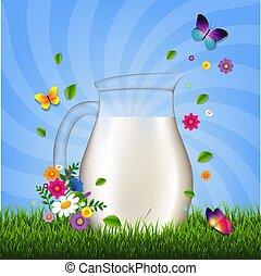 flores, capim, jarro, leite