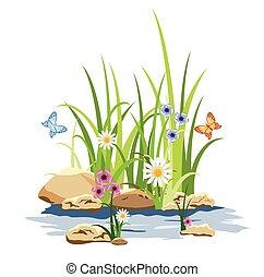 flores, capim, verde, rocha