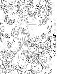 flores, colori, borboletas, africano, menina, encantador, seu