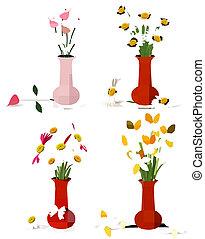 flores coloridas, verão, vasos, primavera