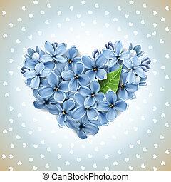 flores, coração, lilás