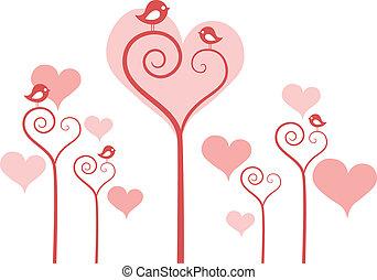 flores, coração, vetorial, pássaros