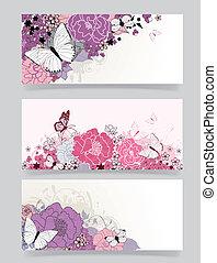 flores, desenho, fundo