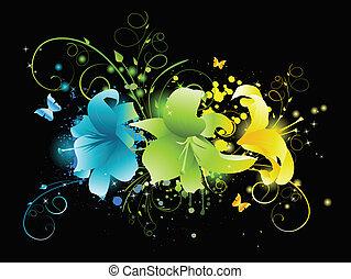 flores, experiência preta, multicolored