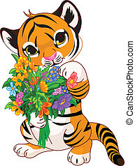 flores, filhote tigre, cute
