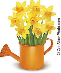 flores frescas, amarela, primavera