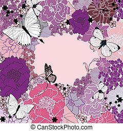 flores, fundo, desenho