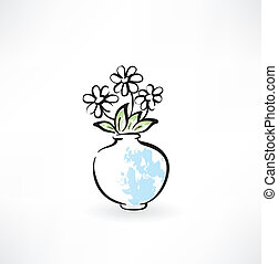 flores, grunge, ícone, vaso