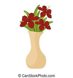 flores, isolado, vaso